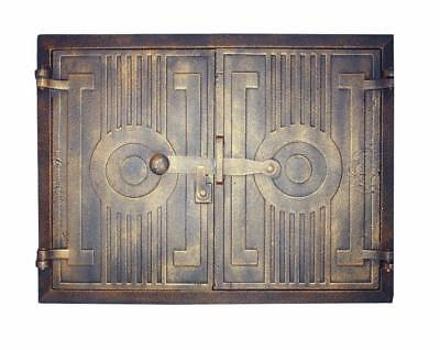 Cast Iron Fire Door Clay Bread Oven Pizza Stove Quality Gold (FP) 44 x 33