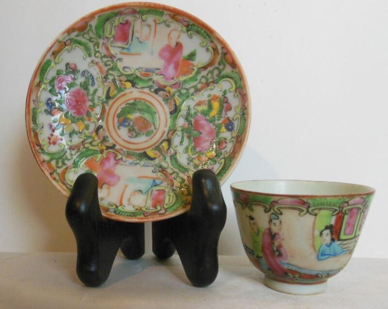 Vintage Rose Medallion Tea Cup / Bowl and Saucer Delicate  No Handle on Cup    K