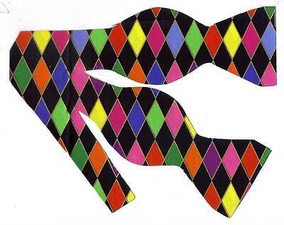 tie / Harlequin Diamonds / Metallic Gold / Self-tie Bow tie (Mardi Gras Bow Tie)