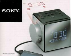 Sony AM FM Cube Alarm Clock Radio with Time Projection Clock Radio Nature Sounds