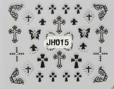 Halloween Black Crosses Silver Rhinestons 3D Nail Art Stickers Decals - Black And Silver Halloween Nail Art