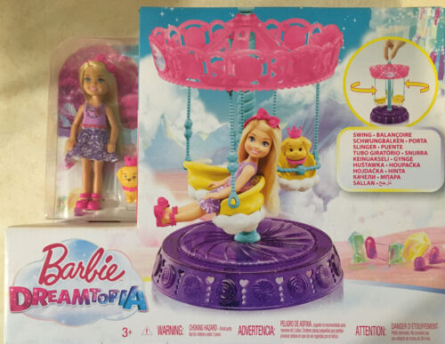 BARBIE...DREAMTOPIA, CHELSEA WITH HER PUPPY AND CAROUSEL SWING...NEW  - $23.00