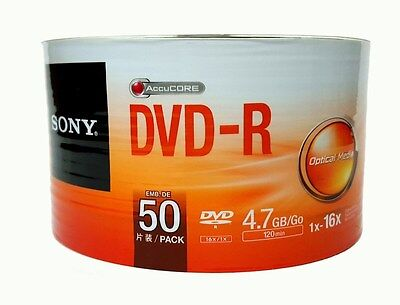 50 Sony Blank Dvd R Dvdr Recordable Logo Branded 16X 4 7Gb 120Min Media Disc