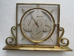 Remembrance  /    BRASS & GLASS 4 TIME ZONE CLOCK   /   Mantel or Desk