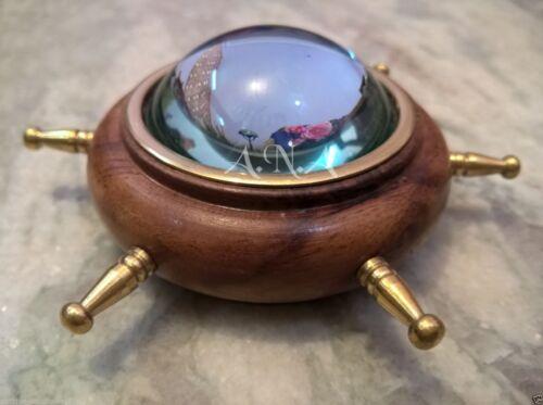 Wooden Brass Wheel Lens Compass Table Top Decorative