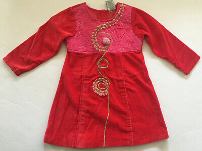 EUC Beetlejuice Girl Faux Velvet Red Pink Holiday Party Dress Sz 3 3T