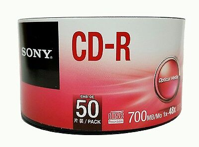 50 Sony Blank Cd R Cdr 48X Logo Branded 700Mb 80Min Recordable Media Disc
