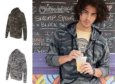 Burnside - Black or Green Camo, Full Zip Hoodie, Sweatshirt, Blend, Sizes S-3XL