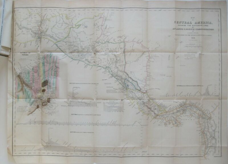 Original 1850 Maps & Govt Documents CENTRAL AMERICA CANAL Nicaragua Tigre Island