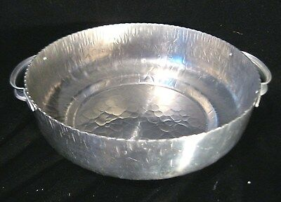 VINTAGE HAND WROUGHT SERVING BOWL WITH HANDLES -  MADE OF HAMMERED  ALUMINUM