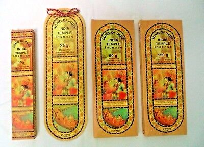 Song Of India  Indian Temple  Incense Sticks  Pick 15 25 60 100 Or 150 Gram