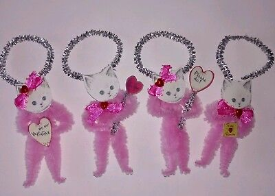 Valentine Ornaments (4 Vintage Style Chenille Valentine Ornaments Pink Kittens with)