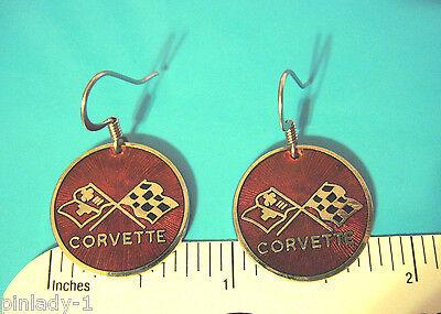 Corvette Earring - Chevrolet CORVETTE  logo with script - earrings , ear rings  GIFT BOXED red