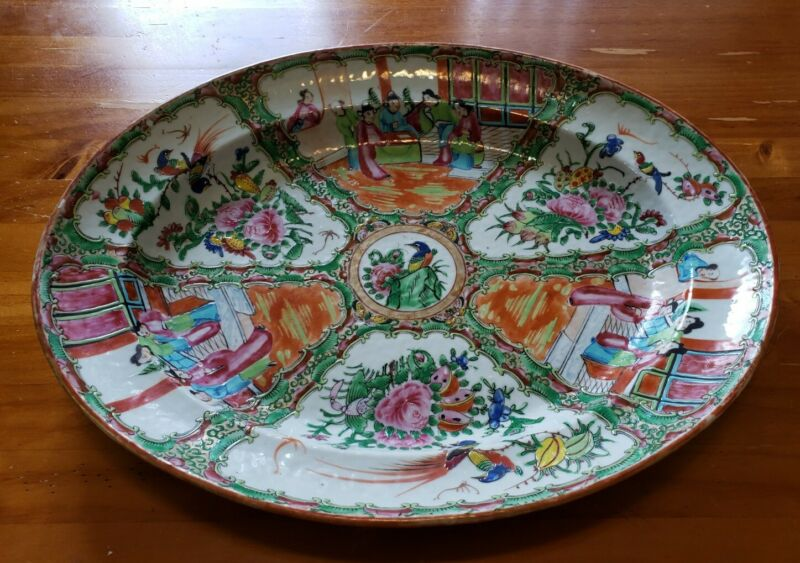 Antique Chinese Qing Famille Rose Medallion 17.5 inch Oval Platter  Ca 1840