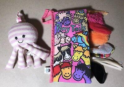 Little Jellycat London Pony Tails Sensory Book & Vibrating Octopus Toy Lot (Jellycat Tails)