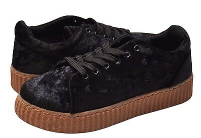 Women's Shoes Qupid Rematch 03A Crush Velvet Lace Up Creeper Sneaker Black *New*
