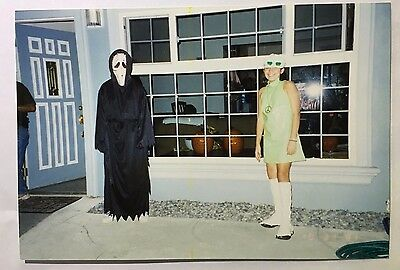 Vintage PHOTO Scary Ghost w/ Hippie Girl On Halloween  (Scary Vintage Halloween Photos)