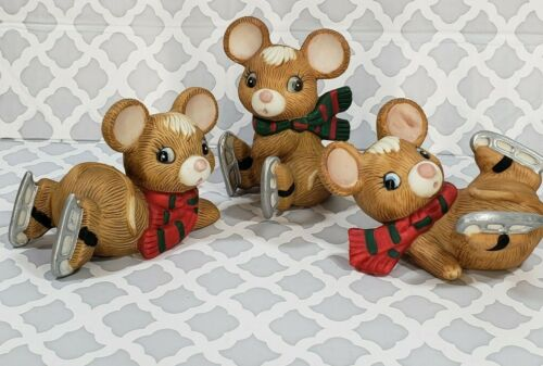 Homco Ice Skating Mice Trio Set of Three Porcelain Christmas Home Interiors