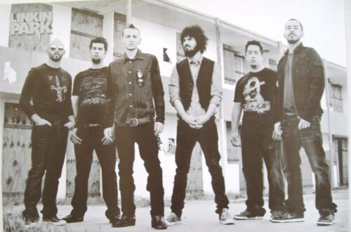 """LINKIN PARK """"GROUP STANDING BY BOARDED-UP BUILDING"""" POSTER FROM ASIA - Alt Rock"""