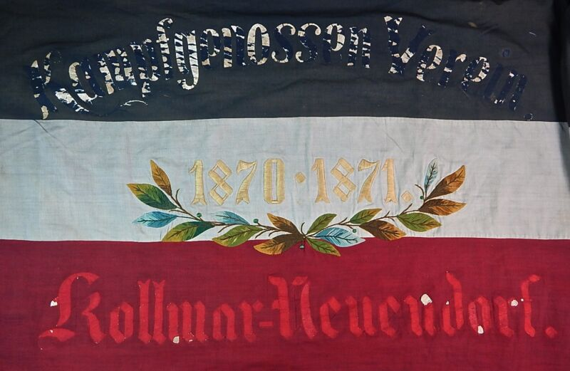 Antique German Germany Pre WW1 Franco-Prussian War Veteran Large Flag Banner
