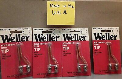 Lot Of 4 Weller 7250n Copper Soldering Gun Tip W Nuts Fit D550 Nos Usa