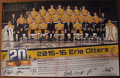 ERIE OTTERS TEAM POSTER 2015-16 SIGNED BY WHOLE TEAM STROME DEBRINCAT RADDYSH