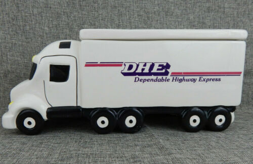 """Unique DHE Truck Cookie Jar with Lid 14"""" Long Advertising Promotion White"""