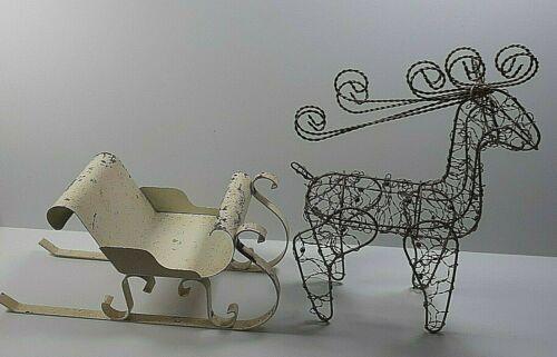 Vintage Metal Sleigh with Wire Reindeer