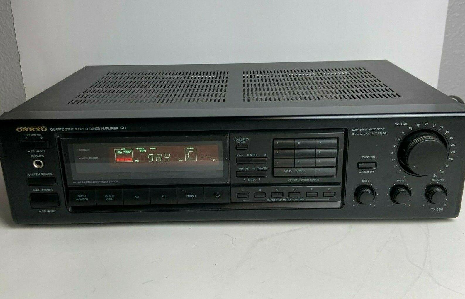 Onkyo TX-930 Phono Input Quartz Synthesized AM/FM Tuner Receiver - Tested - $64.77