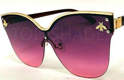 Women's Sunglasses Fashion Cat Eye Gold Frame Big Rimless Lens Metal Bug Bee (Gold Bee Sunglasses)