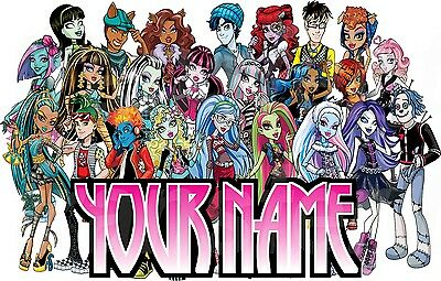 MONSTER HIGH PERSONALISED STICKER WALL or IRON ON TRANSFER TSHIRT NAME LOT MHP Monster High Sticker