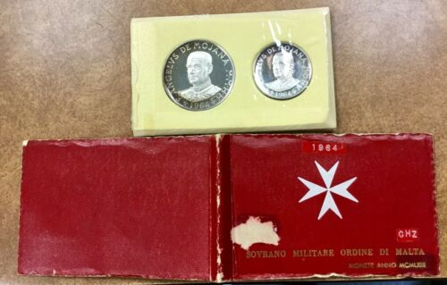 1964 Military Order of MALTA 1 & 2 Scudi  SILVER Proof Set, Low Mintage of 1000