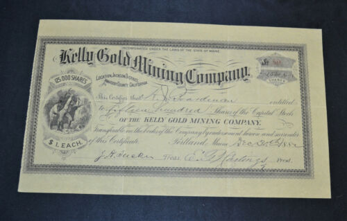 Kelly Gold Mining Company 1882 antique stock certificate – Amador County, Califo