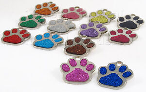 Glitter-Paw-Print-Pet-ID-Tag-Custom-Diamond-Engraved-Dog-Cat-Personalized