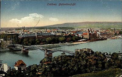 Koblenz Coblenz 1915 Gesamtansicht Brücke Rhein Stadt Fernansicht alte color AK