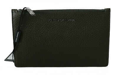 DOLCE & GABBANA Wallet Green Leather Clutch Mens Hand Zipper Borse RRP $380
