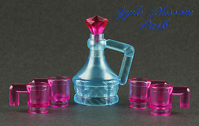 NEW Lego Minifig BLUE JUG & 4 PINK CUPS - Pirate Friends Food Wine Flask Bottle - Plastic Pirate Cups
