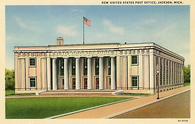 """JACKSON MI """"NEW UNITED STATES POST OFFICE"""" UNUSED LINEN POSTCARD for sale  Shipping to Canada"""