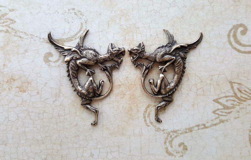Oxidized Brass Griffin Dragon Stampings (2) - BOFFA8468-BOFFA8469