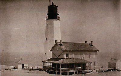 Cape Henlopen Lighthouse, Lewes Delaware 1914, DE Bay Light, House --- Postcard