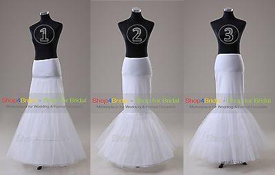 White Hoopless/1 Hoop/2 Hoop Cocktail Mermaid Fishtail Crinoline Petticoat Slips (White Crinoline Petticoat)
