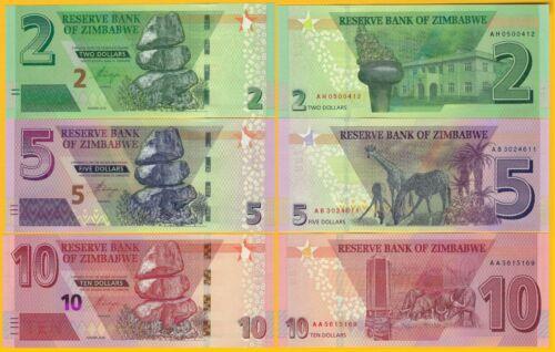 Zimbabwe Set 2, 5, 10 Dollars 2019-2020 UNC Banknotes