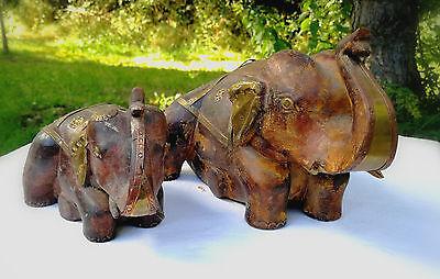 Elefantenmama und Kind mit Messing beschlagen - Indien - 25x15x15cm - 17x11x10