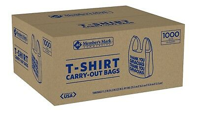 T-shirt Thank You Plastic Grocery Store Shopping Carry Out Bag 1000ct