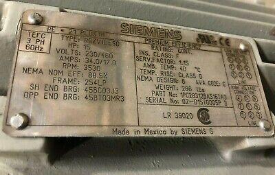 New Surplus Siemens Motor 1pc28312ba516ta3 15hp 3600rpm 254lp 460v 3ph