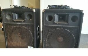 """Australian Monitor 15"""" speakers and leads"""