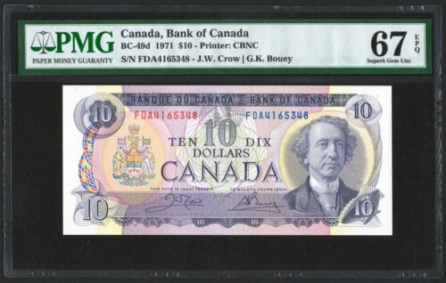1971 Bank of Canada $10 Banknote, PMG UNC-67 EPQ