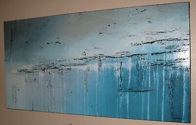 ABSTRACT PAINTING Modern CANVAS WALL ART Framed, Signed, Large USA ELOISExxx - $299.00