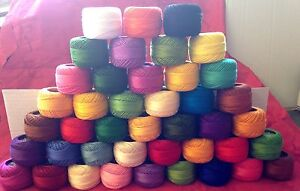 30 Solid ANCHOR Pearl Cotton Crochet Balls Size No 8 Thread, 85 Meters each.