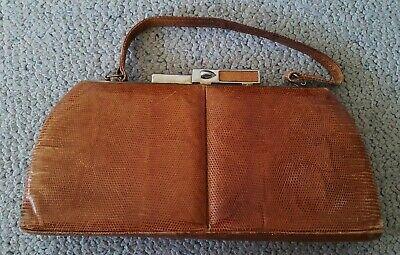 1940s Handbags and Purses History H Stevens Sydney genuine lizard leather vintage hand bag $30.19 AT vintagedancer.com